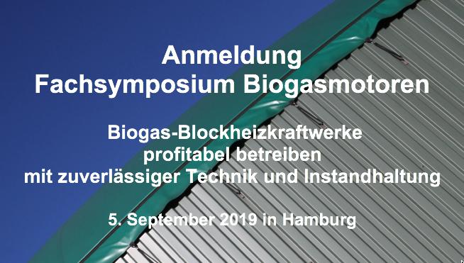 Fachsymposium Biogasmotoren 2019 am 5. September in Hamburg