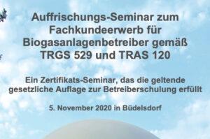 Auffrischungsseminar Betriebssicherheit am 5.11.2020 in Büdelsdorf gemäß TRGS 529 und TRAS 120