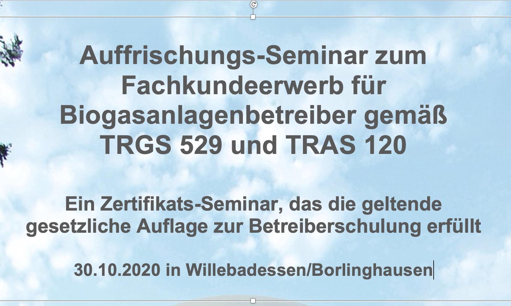 Auffrischungsseminar Betriebssicherheit Brakel am 30.10.2020