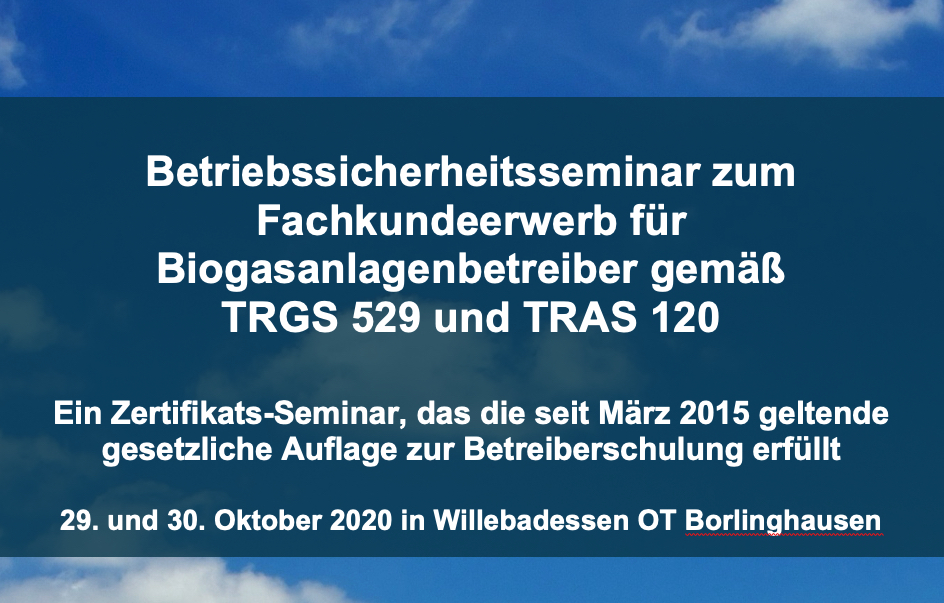 Grundlagenseminar Betriebssicherheit Willebadessen am 29.10.2020