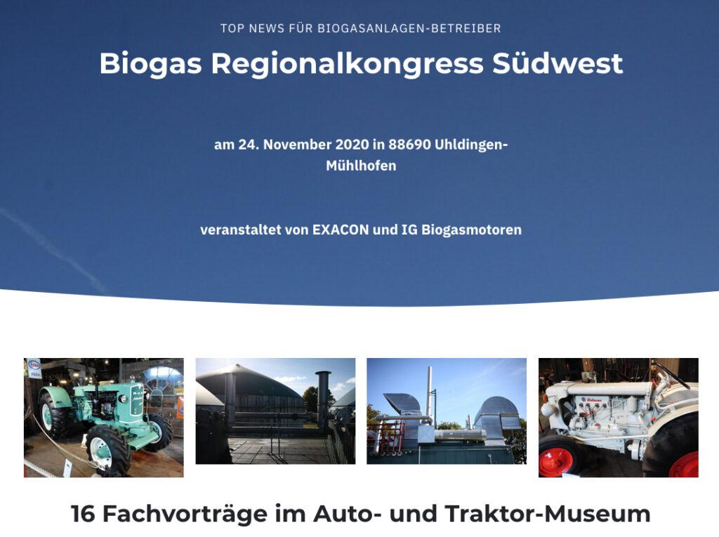 Biogas Regionalkonferenz Suedwest am 24.11.2020 in Uhldingen-Muehlhofen für Betreiber von Biogasanlagen